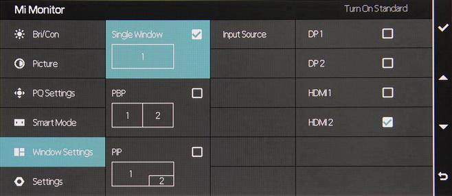 монитор xiaomi-mi-surface-display-34 меню входов